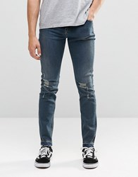 Cheap Monday Tight Skinny Jeans Stone Tint Knee Rips Stone Tint Blue
