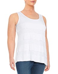 Lord And Taylor Plus Tiered Tank Top White