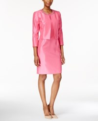 Kasper Beaded Jacket And Sheath Dress Suit Pink