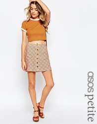 Asos Petite Mini Skirt In Retro Floral Print Multi