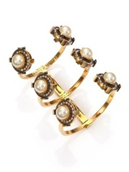 Alexander Mcqueen Military Faux Pearl Three Row Cuff Bracelet Gold