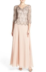 Women's J Kara Scallop Embellished Popover Gown