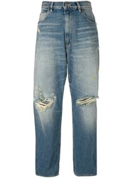 Golden Goose Deluxe Brand Distressed Boyfriend Jeans Blue