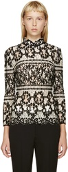 Erdem Black And White Flocked Lace Blouse