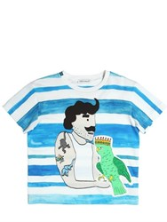 Dolce And Gabbana Parrot Man Print Cotton Jersey T Shirt