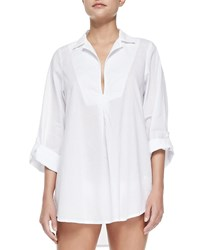 Splendid Notch Collar Tunic With Button Tab Sleeves White