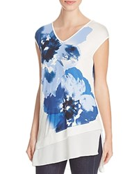 Kim And Cami Chiffon Trimmed Floral Print Tee Blue Ivory Combo