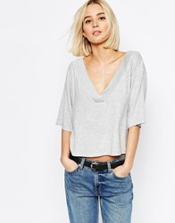 Weekday Deep V Neck Top Dark Melange Grey