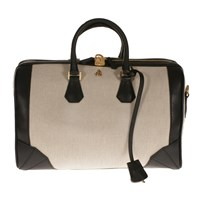 Treccani Milano Canvas And Leather Satchel Multi