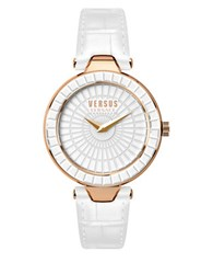 Versus By Versace Sertie Rose Goldtone White Leather Strap Watch Sq1110015