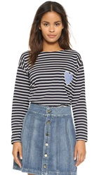 Chinti And Parker Stripe Sailor Long Sleeve Tee Navy Cream