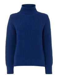 Gloverall Rib Funnel Neck Jumper Blue