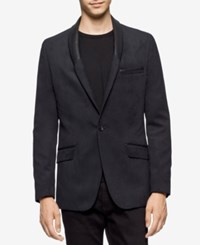 Calvin Klein Men's Slim Fit Shawl Lapel Suede Blazer Charcoal