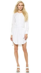Tess Giberson Pieced Perforated Shirtdress White
