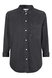 Topshop Moto Denim Oversized Shirt Washed Black