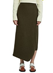 J.W.Anderson Infinity Asymmetric Ribbed Skirt Green