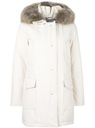 Woolrich Hooded Zipped Coat White