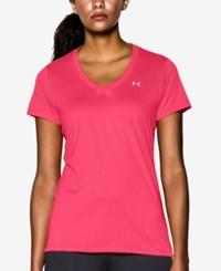 Under Armour Amour Ua Tech V Neck Tee Pink Shock