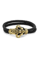 Steeltime Black Leather And Two Tone Fleur De Lis Bracelet No Color