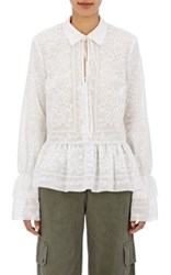 R R Studio By Robert Rodriguez Women's Embroidered Cotton Voile Peplum Top Ivory