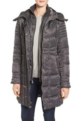 Vince Camuto Women's Knit Trim Hooded Down And Feather Fill Coat Iron