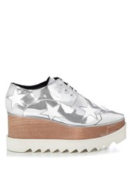 Stella Mccartney Elyse Metallic Lace Up Platform Shoes Silver
