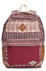 Billabong Junior Women's 'Hidden Trek' Geo Print Canvas Backpack Burgundy Mystic Maroon
