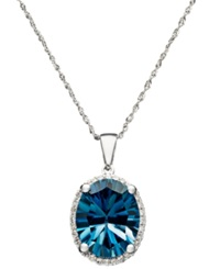 Macy's London Blue Topaz 4 1 10 Ct. T.W. And Diamond Accent Oval Pendant In 14K White Gold