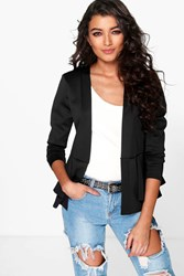 Boohoo Peplum Collarless Blazer Black