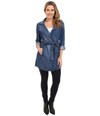 Nydj Drapy Trench Coat Denim Denim Women's Coat Blue