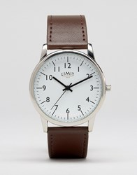 Limit Leather Watch In Brown Exclusive To Asos Brown