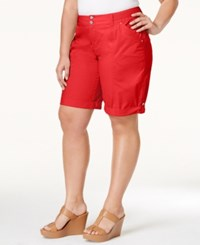 Inc International Concepts Plus Size Poplin Shorts Only At Macy's Fireberry