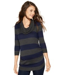 A Pea In The Pod Maternity Striped Cowl Neck Sweater Midnight Charcoal