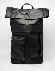 Dark Future Backpack With Straps In Faux Leather Black Grey