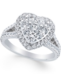 Macy's Diamond Heart Engagement Ring 1 1 2 Ct. T.W. In 14K White Gold No Color