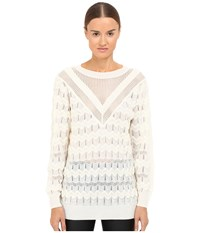 M Missoni Solid Long Sleeve Top Ivory Women's Clothing White