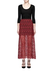 Alice Olivia 'Jojo' Geometric Guipure Lace Maxi Dress Multi Colour