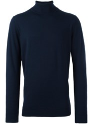 Sunspel Roll Neck Jumper Blue