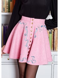 Olympia Le Tan Skirt Enid Tweed Embroidered Pink