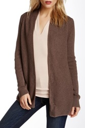 Vince Camuto Long Sleeve Open Front Knit Cardigan Brown
