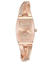 Charter Club Women's Rose Gold Tone Twisted Pave Bangle Bracelet Watch 20Mm 17291 Only At Macy's