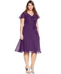 Le Bos Plus Size Ruffle A Line Dress Eggplant