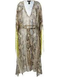 Roberto Cavalli Fringed Snakeskin Print Dress Nude And Neutrals
