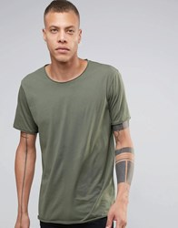 Weekday Dark Raw Edge T Shirt 19 109 Dk Green