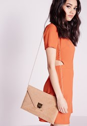 Missguided Clasp Detail Envelope Clutch Bag Brown