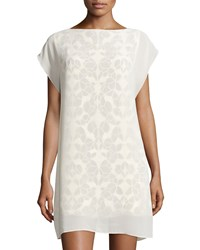 See By Chloe Lace Print Cap Sleeve Shift Dress Off White