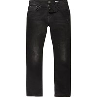 River Island Mens Black Washed Ronnie Cigarette Jeans