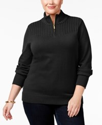 Karen Scott Plus Size Ribbed Mock Neck Sweater Only At Macy's Deep Black
