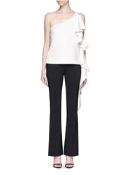 C Meo Collective 'The Real Me' Ruffle Trim One Shoulder Top White