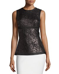 J. Mendel Sleeveless Lace Panel Top Noir
